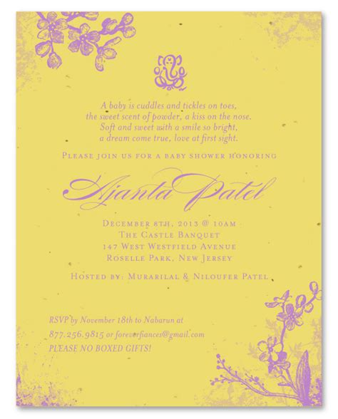 baby shower invitations indian unique baby shower invitations on curry seeded paper