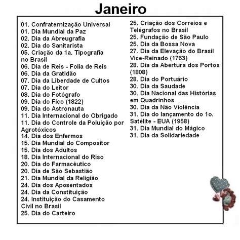 Calendario Dos Dias Mundiais Jardim Colorido Da Suh Datas Comemorativas De Janeiro