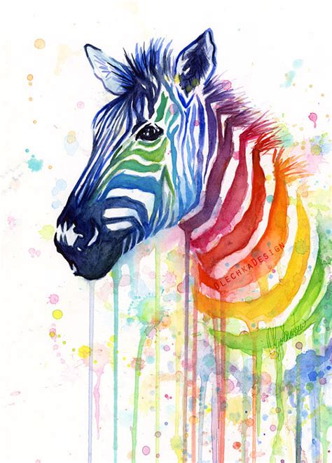 zebra watercolor rainbow painting gicl 233 e print zebra