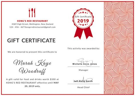 20 Restaurant Gift Certificate Templates Free Sle Exle Format Download Free Restaurant Gift Certificate Template