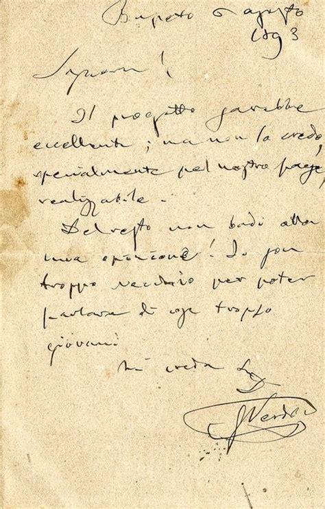lettere di verdi verdi giuseppe lettera autografa firmata asta libri