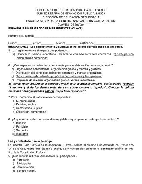 examen de primaria 2015 2016 examenes bimestrales para primaria gratis 2015 2016
