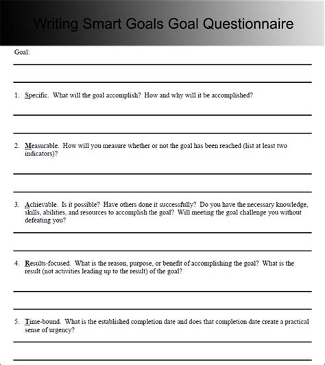 9 Goal Sheet Templates Free Pdf Word Excel Formats How To Write Your Goals Template