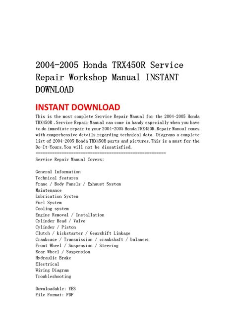 service manual pdf 2004 honda s2000 workshop manuals honda s2000 repair manual ebay honda honda trx450r service repair manual 2004 2005 pdf download autos post