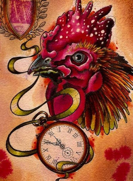 new school rooster tattoo new school rooster keeping a clock in a beak tattoo design