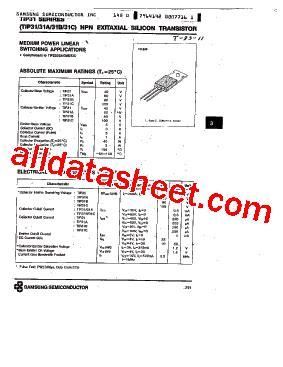 transistor tip31c datasheet tip31c datasheet pdf samsung semiconductor