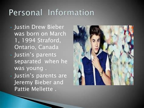justin bieber biography download ppt biography of justin bieber powerpoint presentation