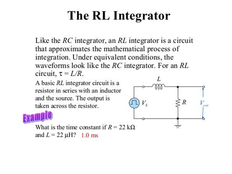 integrator circuit using rc rc and rl differentiator and integrator circuit