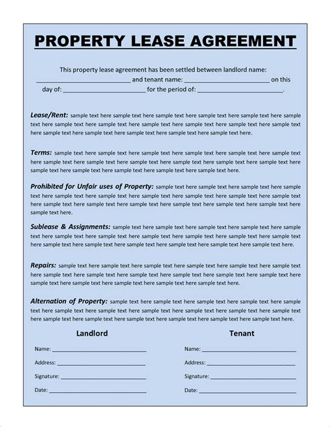 Lease Template Word 3 rental agreement template wordreport template document