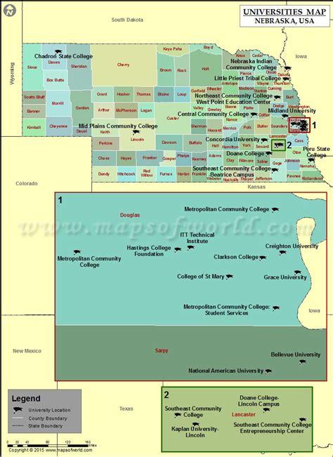 nebraska usa map list of universities in nebraska map of nebraska