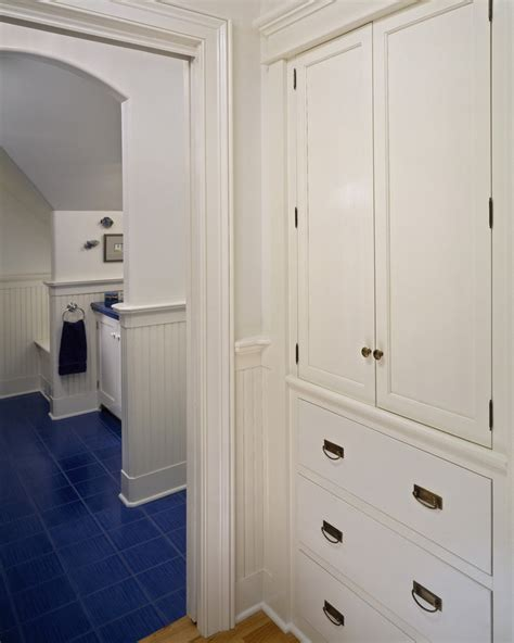 built in linen closet bathroom traditional with built ins
