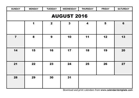 Calendar August 2016 August 2016 Calendar