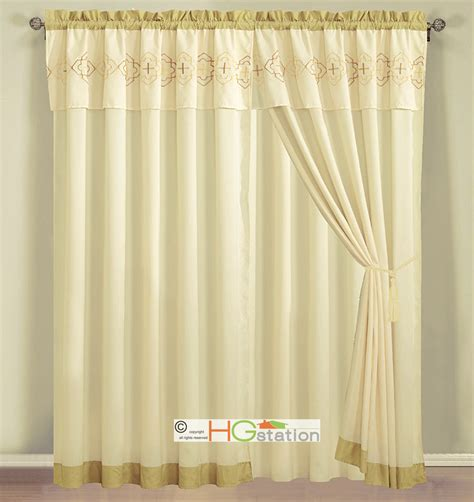 yellow valance curtains 4 pc embroidery quatrefoil geometric trellis curtain set