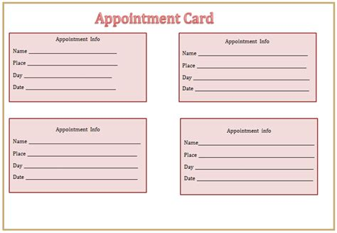 Appointment Card Template free appointment cards printable search results