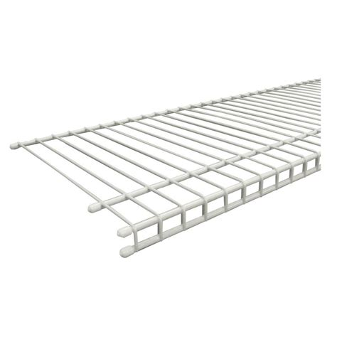 white wire rack shelving closetmaid superslide 48 in w x 12 in d white ventilated