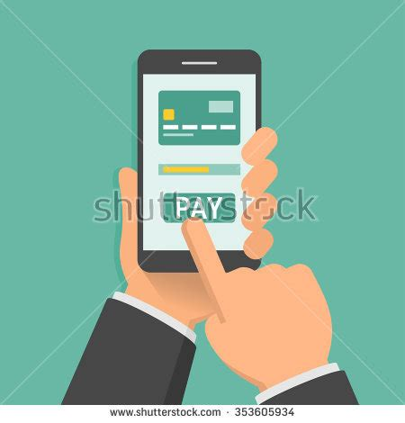 mobile remote payment holding phone app mobile paying stock vector