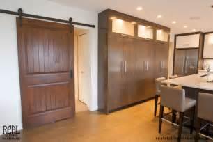 sliding barn door in kitchen