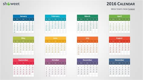 Calendar Slides Colorful 2016 Calendar For Powerpoint