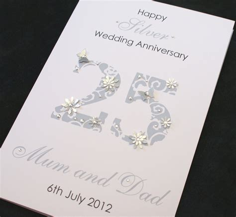 Wedding Anniversary Handmade Cards - large handmade personalised 25th silver wedding