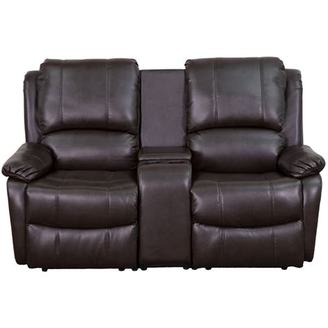 flash furniture brown leather pillowtop 2 seat home