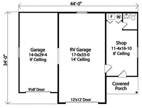 Rv Garage Door Sizes by Rv Garage With Shop 22099sl Cad Available Pdf
