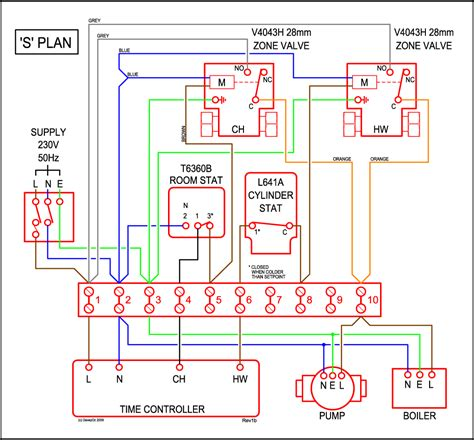 honeywell central heating wiring diagram circuit