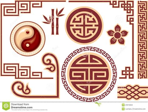 oriental designs set of chinese oriental design elements stock illustration