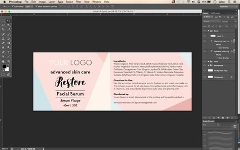 Cosmetic Label Templates serum label template id18 aiwsolutions