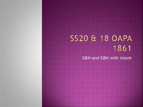 section 20 oapa ss20 18 oapa 1861
