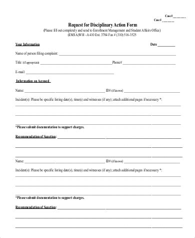 disciplinary form template word disciplinary form 20 free word pdf documents