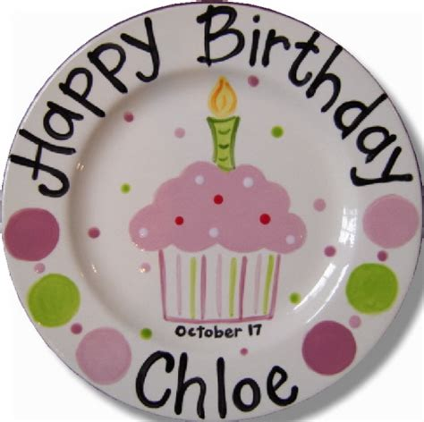 ceramic birthday plate hand painted personalized