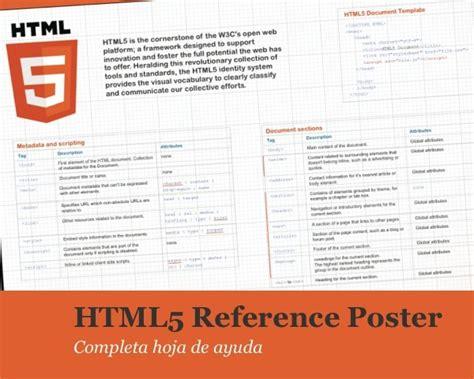 hoja de ayuda html5 reference poster completa hoja de ayuda para