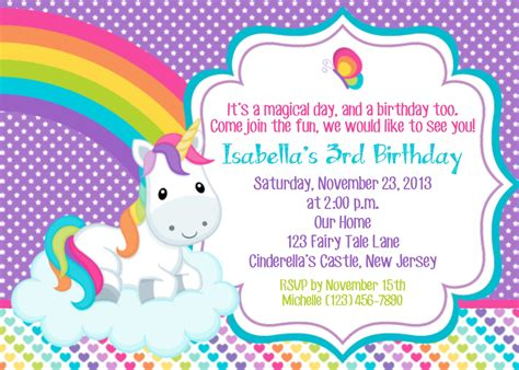 Unicorn Invitation Personalized Custom Unicorn Rainbow Unicorn Invitation Template Free