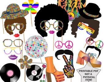 free printable hippie photo booth props 70s party photo booth props set 21 piece printable 1970s