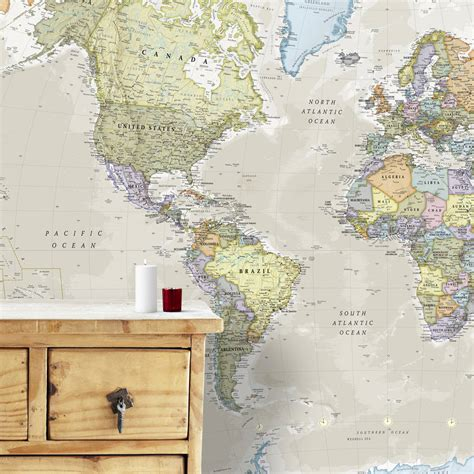 Classic World Map Wallpaper Wall - classic world map mural by maps international