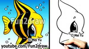 draw easy draw fish angelfish cute drawings fun2draw
