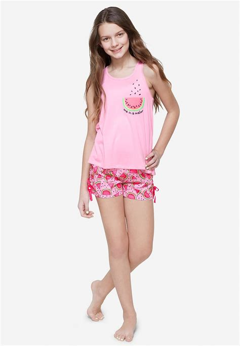set site models tween justice watermelon sleep set for girls comfy cute