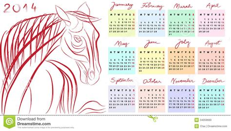 doodle calendar 2014 calendar 2014 year stock photo image 34059660