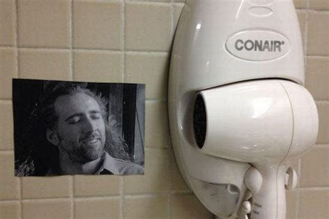 Conair Hair Dryer Nicolas Cage i requested a nic cage picture on my pillow at the hotel