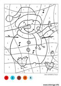 coloriage magique bonhomme de neige noel dessin