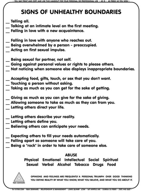 Healthy And Unhealthy Relationships Worksheets by Signs Of Unhealthy Boundaries Worksheet