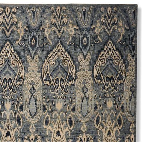 ikat rug knotted wool silk ikat rug williams sonoma