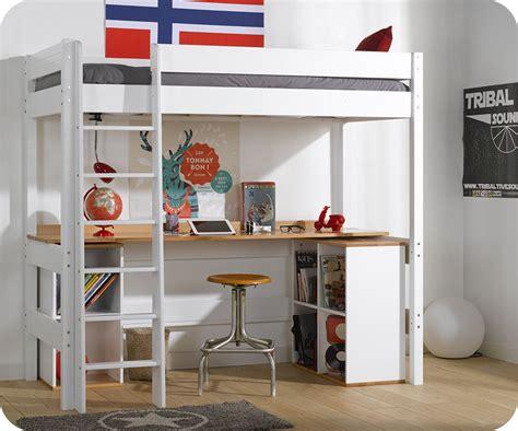 lit mezzanine avec bureau enfant lit mezzanine clay blanc avec bureau