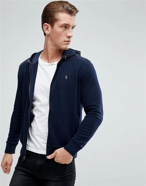 Rompi Vest Zipper Polos 9 polo ralph athleisure zip hooded sweat jacket in navy in blue for lyst
