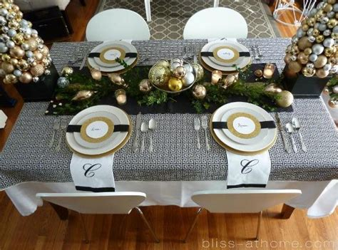 black and white christmas table decorations festive gold and black tablescape b lovely events