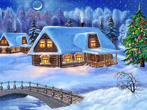 happy  year christmas tree winter village houses wooden bridge snow tree snow hd wallpaper