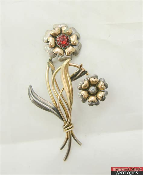 Antique Ls by Vintage Ls Co Silver 800 Gold 12k Brooch Pin Flower Rhinestone 3 1 2 Quot Ebay