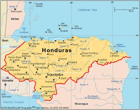 Honduras Map Central America by Gallery For Gt Honduras Political Map