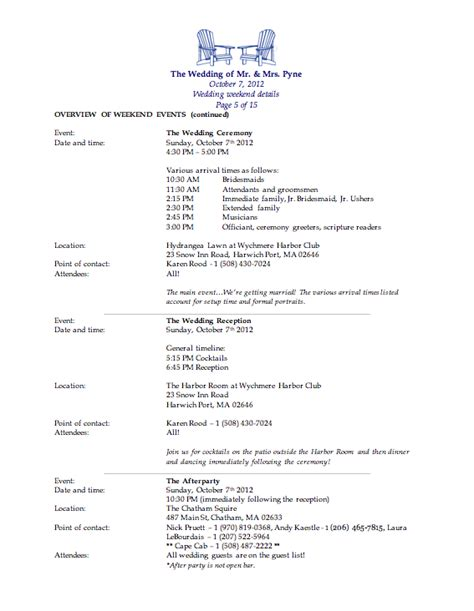 bridesmaid itinerary template wedding weekend template the pyne s