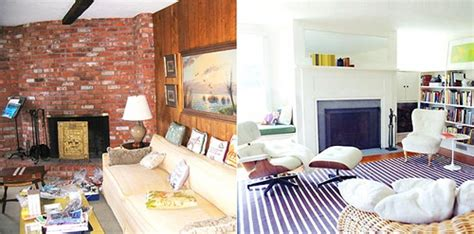 before the living room is rather long and narrow the fireplace before after living room white paint blue striped rug